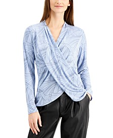 Printed Draped V-Neck Top, Created for Macy's