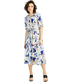 Petite Printed Tie-Front Midi Dress, Created for Macy's