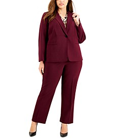 Plus Size One-Button Pant Suit