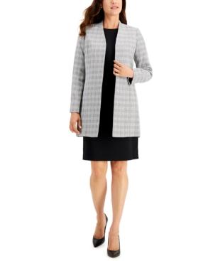 Plaid Tweed Jacket Dress Suit