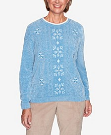Women's Missy Dover Cliffs Medallion Center Embroidery Sweater