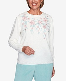 Women's Missy St. Moritz Chenille Floral Embroidery Diamond Stitch Sweater