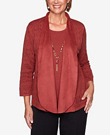 Women's Missy Catwalk Suede Trim Pointelle Two-for-One Sweater