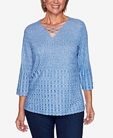 Women's Missy Hunter Mountain Beaded Textured Knit Top