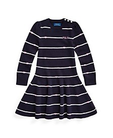 폴로 랄프로렌 여아용 스웨터 원피스 Polo Ralph Lauren Toddler Girls Logo Striped Sweater Dress,Navy Multi