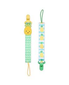 Pineapple Pacifier Tether Clip, Set of 2
