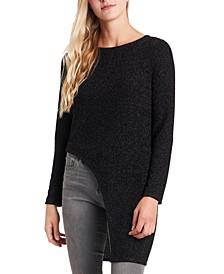Glitter-Knit Asymmetric-Hem Tunic Top
