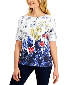 Petite Floral-Print Elbow-Sleeve Top, Created for Macy's