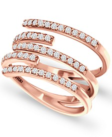 Cubic Zirconia Five Row Wrap Ring in 18k Rose Gold-Plated Sterling Silver, Created for Macy's