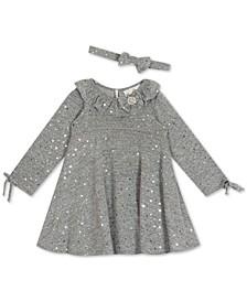 Baby Girls Long-Sleeve Foil Hacci Dress & Headband Set