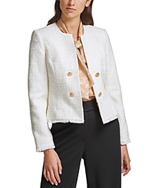 Open-Front Tweed Blazer