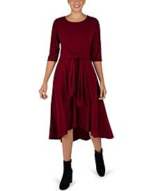 Tie-Front Elbow-Sleeve Midi Dress