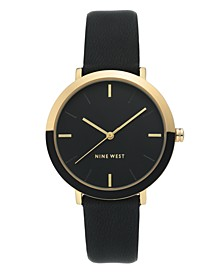 Women's Gold-Tone and Black Strap Watch, 36mm