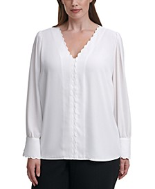 Plus Size Scalloped-Trim Top