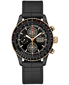 Men's Swiss Automatic Chronograph Khaki Aviation Converter Black Leather Strap Watch 44mm