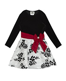 Toddler Girl Velvet Long Sleeve Bodice To Burnout Organza Flock Skirt