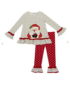 Little Girl Santa Applique Top With Printed Legging Set