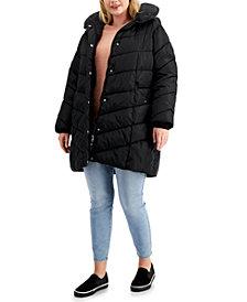 Madden Girl Trendy Plus Size Fleece-Lined Hooded Puffer Coat