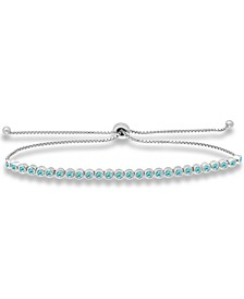 Blue Cubic Zirconia Bolo Bracelet in Sterling Silver, Created for Macy's