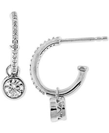 Diamond Dangle Hoop Earrings (1/2 ct. t.w.) in 14k White Gold