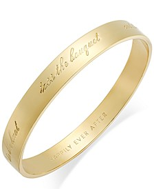 "Gold-Tone ""Happily Ever After"" Bridal Idiom Bangle Bracelet"