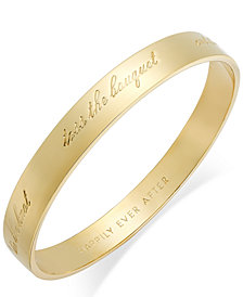 "kate spade new york Gold-Tone ""Happily Ever After"" Bridal Idiom Bangle Bracelet"