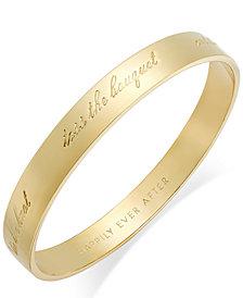 "kate spade new york Gold-Tone ""Happily Ever After"" Bridal Idiom Bangle Bracelet"