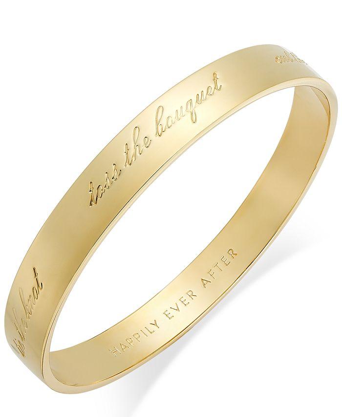 "kate spade new york - Gold-Tone ""Happily Ever After"" Bridal Idiom Bangle Bracelet"