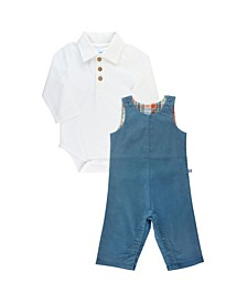 Baby Boys Long Sleeve Polo Bodysuit and Corduroy Longall Set