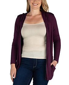 Women's Plus Size Hooded Cardigan