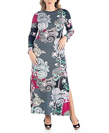 Women's Plus Size Paisley Print Maxi Dress