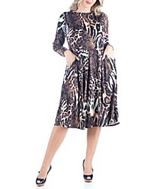 Women's Plus Size Fit and Flare Animal Print Midi Dress
