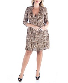 Women's Plus Size Leopard Print A-Line Dress