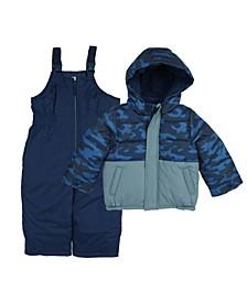 Little Boys Color-block 2 Piece Snowsuit with Camo Print Jacket