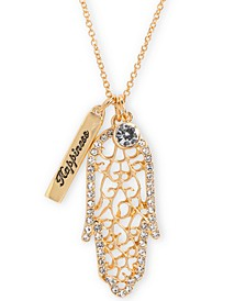 "Gold-Tone Crystal Hamsa Hand Happiness 32"" Double Pendant Necklace"