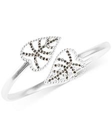 Silver-Tone Delicate Pavé Leaf Bypass Bangle Bracelet