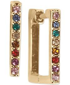 Pavé Square Huggie Hoop Earrings