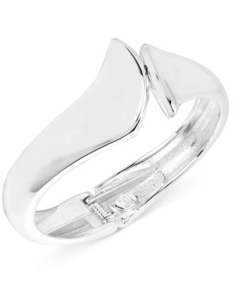 Silver-Tone Sculptural Bypass Hinge Bangle Bracelet