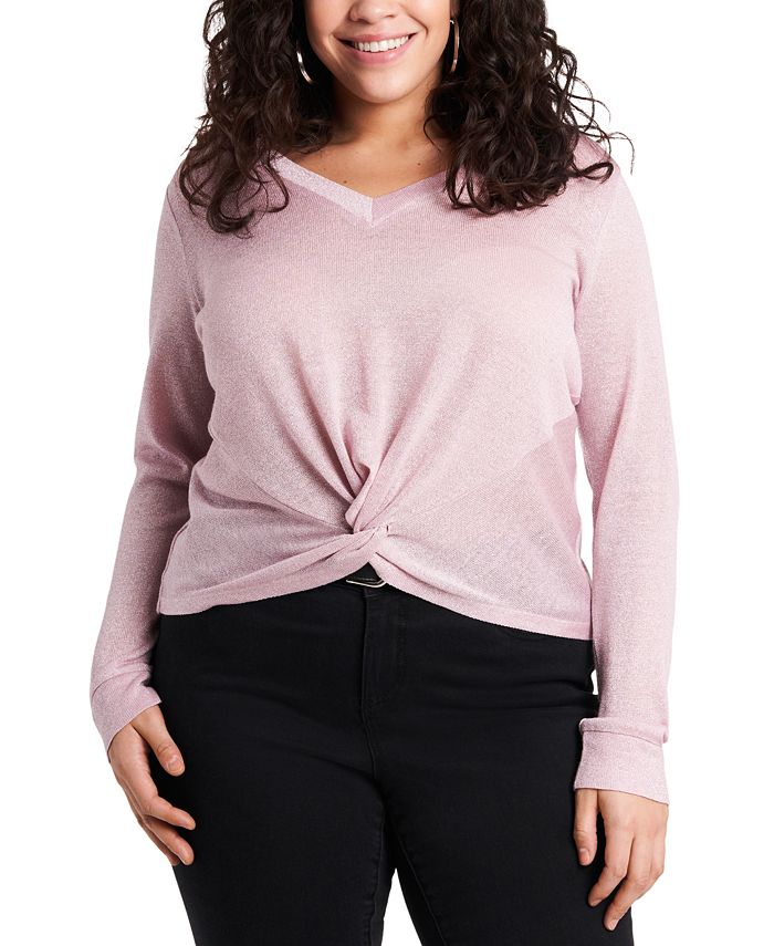 1.STATE - Trendy Plus Size Metallic Twist-Front Top
