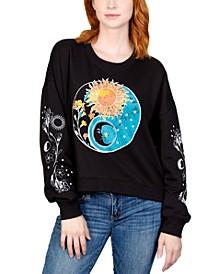Juniors' Celestial Graphic Print Sweatshirt