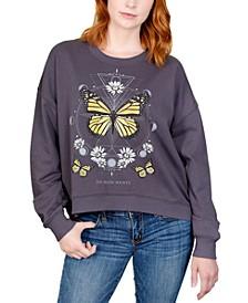 Juniors' Butterfly Daisy Graphic Sweatshirt