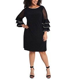 Plus Size Embellished Illusion-Sleeve Shift Dress