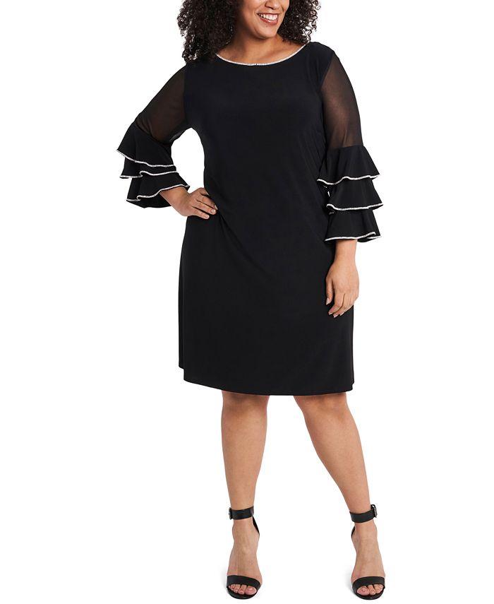 MSK - Plus Size Embellished Illusion-Sleeve Shift Dress