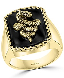 EFFY® Men's Onyx Snake Statement Ring in 18k Gold-Plated Sterling Silver