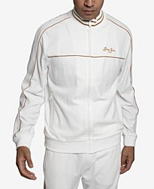 Velour Men's  Track Jacket with Piping
