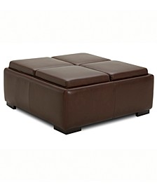 Dallon Leather Ottoman with Wood Trays, Created for Macy's