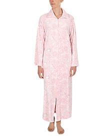 Printed Luxe Fleece Long Zipper Robe
