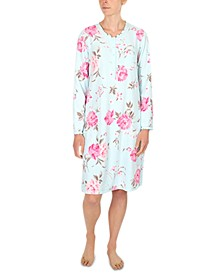 Plus Size Printed Brushed Waffle Knit Nightgown