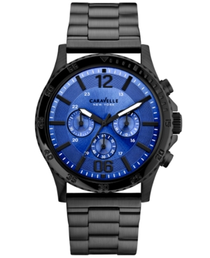 Caravelle New York by Bulova Men's Chronograph Black-Tone Stainless Steel Bracelet Watch 44mm 45A106