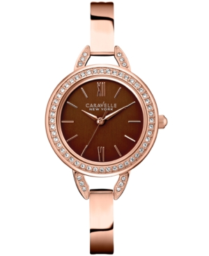 Caravelle New York by Bulova Women's Rose Gold-Tone Stainless Steel Bracelet Watch 28mm 44L134